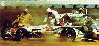 Hurtubise and Liguori scramble from their wrecked cars