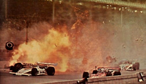 Mel squeezes by the Salt Walther accident at Indy 1973