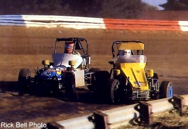Mel slashing inside of Dave Ray at Terre Haute in 1986